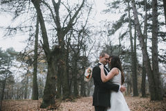 Happy bride and groom posing in the autumn forest Stock Photography