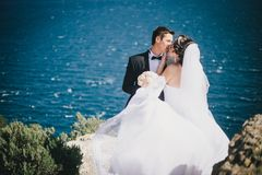 Happy bride and groom posing on the ocean background Stock Photography