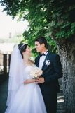 Happy bride and groom posing in a park Royalty Free Stock Photos