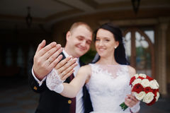 Happy bride and groom showing their rings on hands Stock Photography