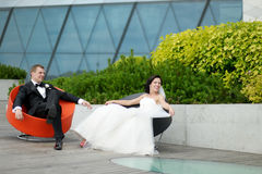Bride and groom in a city Royalty Free Stock Photo
