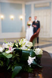 Happy bride and groom on solemn registration Royalty Free Stock Images