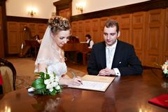 Happy bride and groom on solemn registration Stock Images