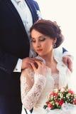 Happy bride and groom in  studio Stock Photography