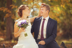 Happy bride and groom in a sunny park Royalty Free Stock Photos