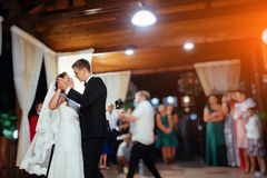 Happy bride and groom a their first dance, wedding Stock Photos
