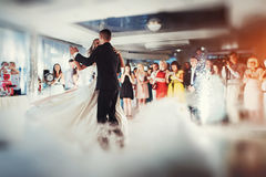 Happy bride and groom their first dance stock image