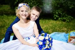 Happy bride and groom on their wedding Royalty Free Stock Image