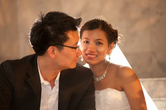 Happy bride and groom on their wedding day . Royalty Free Stock Photography