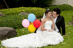 Happy bride and groom on their wedding day . Stock Images