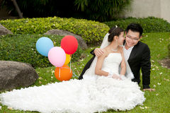 Happy bride and groom on their wedding day . Stock Photo