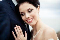 Happy bride and groom on their wedding Stock Photos