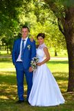 Happy bride and groom on their wedding Stock Photography