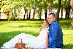 Happy bride and groom on their wedding sits on the grass in park Stock Photography