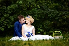Happy bride and groom on their wedding sits on grass in park Royalty Free Stock Images