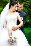 Happy bride and groom on their wedding Royalty Free Stock Photography
