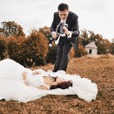 Happy bride and groom together. Royalty Free Stock Photography