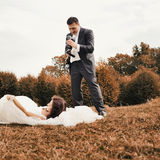 Happy bride and groom together. Stock Photography