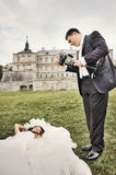 Happy bride and groom together. Stock Photos