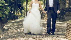Happy bride and groom together Royalty Free Stock Images