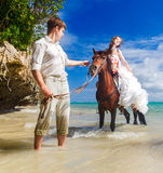 Happy bride and groom walking with horse on a tropical beach Royalty Free Stock Photography