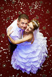 Happy bride and groom in wedding day. In dance floor Royalty Free Stock Photography