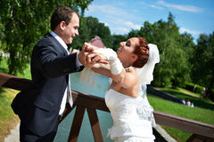 Happy bride and groom in wedding day Stock Photo