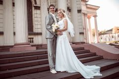 Happy bride and groom in wedding day Royalty Free Stock Images