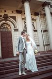 Happy bride and groom in wedding day Stock Photos