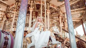 Happy bride and groom in wedding day. This image has attached release Stock Image
