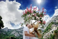 Happy bride and groom in wedding day in Positano Stock Images