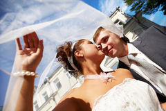 Happy bride and groom at the wedding walk Stock Images