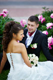 Happy bride and groom at wedding walk Stock Photo