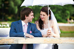 Happy bride and groom on wedding walk Stock Image