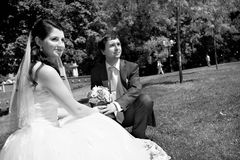 Happy bride and groom at wedding walk Stock Photos