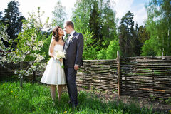 Happy bride and groom on wedding walk Stock Photo