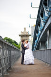 Happy bride and groom at wedding walk on bridge Stock Images