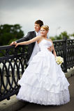 Happy bride and groom at wedding walk on bridge stock image