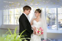 Happy bride and groom on the wedding walk Royalty Free Stock Images
