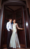 Happy bride and groom at the wedding walk Stock Photo