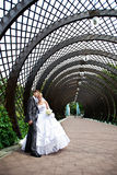 Happy bride and groom at wedding walk in the park stock photos