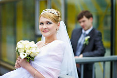 Happy bride and groom at wedding walk in the park Royalty Free Stock Photo