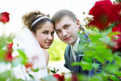 Happy bride and groom at wedding walk in the park Stock Image