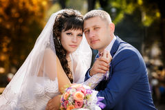 Happy bride and groom at the wedding walk Royalty Free Stock Photography