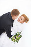 Happy bride and groom on white background isolated Royalty Free Stock Images