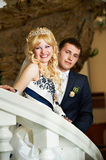 Happy bride and groom on a white ladder Royalty Free Stock Images