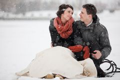 Happy bride and groom in winter day Stock Photos