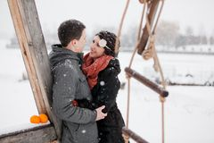 Happy bride and groom in winter day Royalty Free Stock Photos