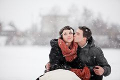 Happy bride and groom in winter day Stock Photo