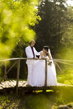 Happy bride and groom on wooden bridge in park at Stock Images